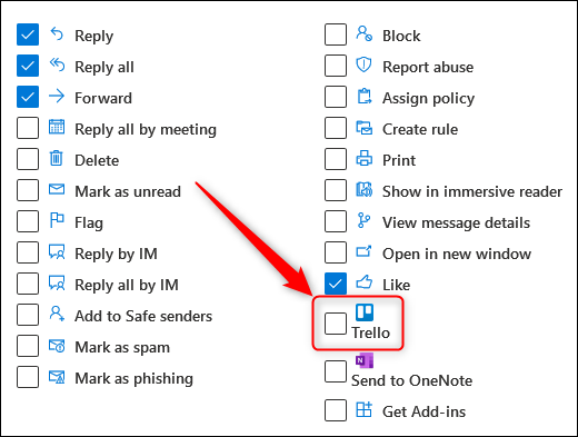The action checkboxes with the Trello add-in highlighted