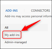 "The ""My add-ins"" option"