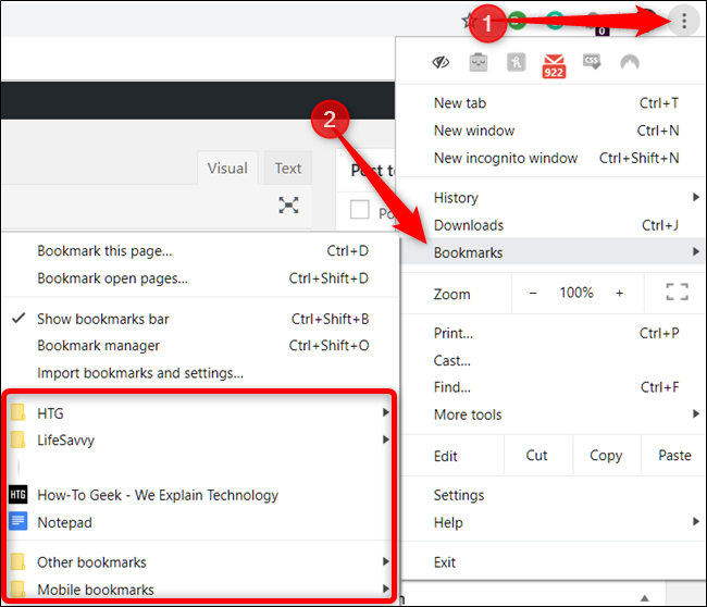 Click Menu > Bookmarks to see the list of all your Bookmarks.