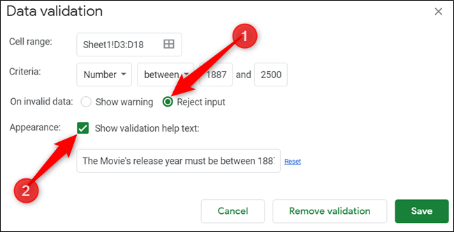 """Click """"Reject Input,"""" and then click """"Show Validation Help Text."""" Type your preferred error message."""