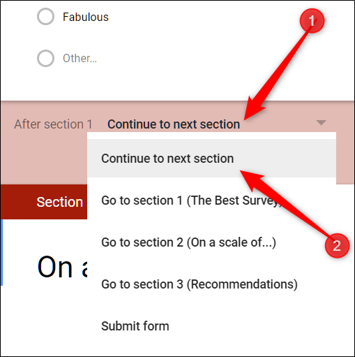 Click the drop-down menu and select where the form should send people after the section is completed.