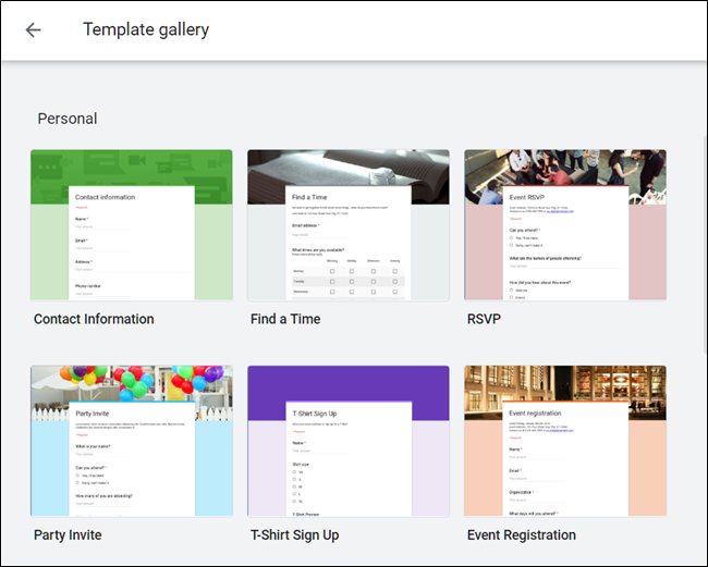 The Google Forms Template Gallery.