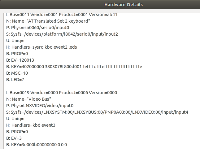 Hardware scan information in a text info dialog window.