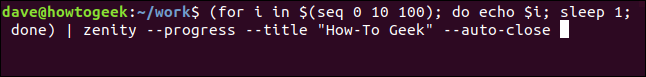 """""""(for i in $(seq 0 10 100); do echo $i; sleep 1; done) 