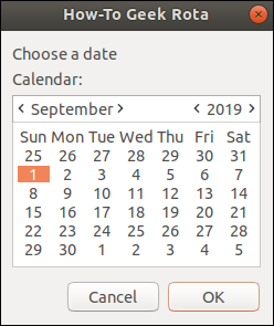 zenity calendar with a start date selected (September 1, 2019).