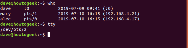 who and tty in a terminal window
