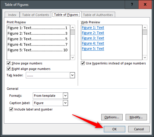 Edit the Table of Figures options