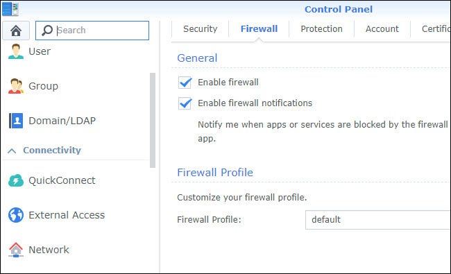 Control Panel Firewall settings , with Firewall enabled.