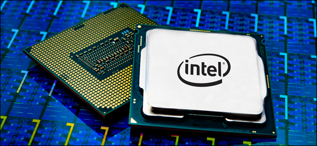 Intel Core i9 processor package on a blue background.