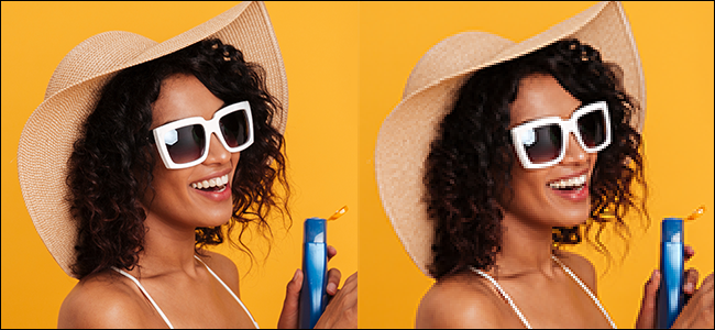 Two identical images of a woman wearing sunglasses and a sunhat holding lotion; image on the right is blurry and pixelated.