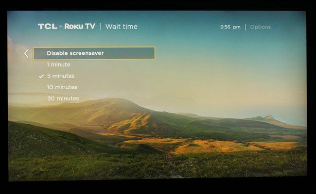 Roku screensaver time settings dialog, with 5 minutes selected.