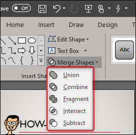 Select merge shape type from dropdown menu