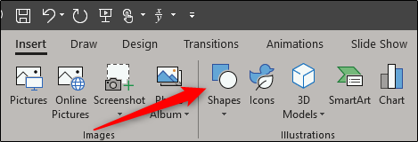 Shape option in illustration group of insert tab