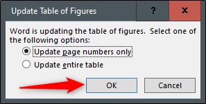 Update entire table or page numbers only options