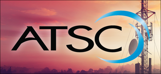 The ATSC logo superimposed on a broadcasting tower.