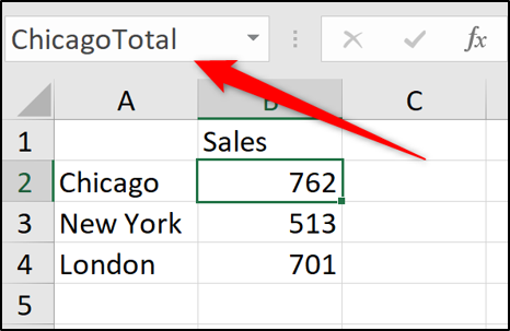 Defining a name in Excel