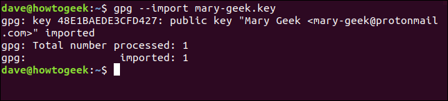 successfully imported key in a terminal window