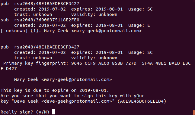 gpg key signing confirmation in a terminal window