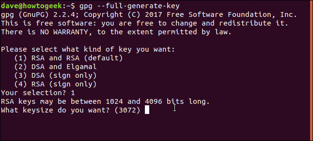 key generation questions in a terminal window