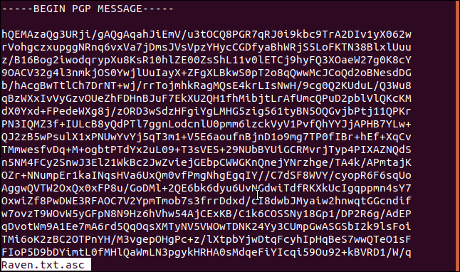 Encrypted content of raven.txt.asc in a terminal window