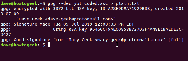 gpg --decrypt coded.asc > plain.txt in a terminal window