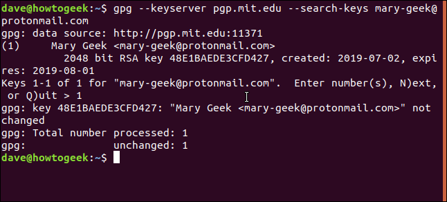 gpg keyserver results in a terminal window