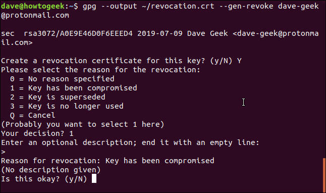 gpg certificate questions in a terminal window