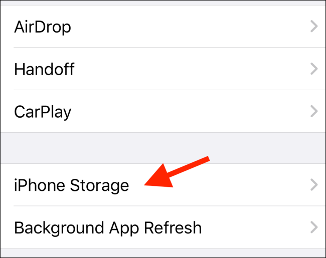 Select iPhone Storage Option Under General in Settings App