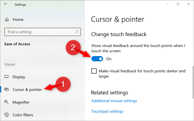 """In the """"Cursor & Pointer"""" pane, tap the """"Show visual feedback around the touch points when I touch the screen"""" toggle to """"Off."""""""