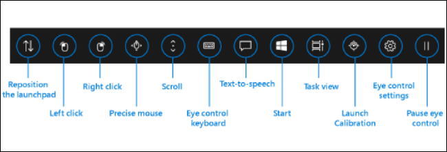 Eye Control interface in Windows 10