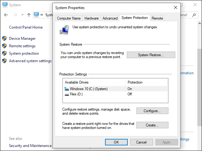 System Restore options on Windows 10.