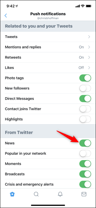 Option to disable Twitter News for You push notifications in iPhone app