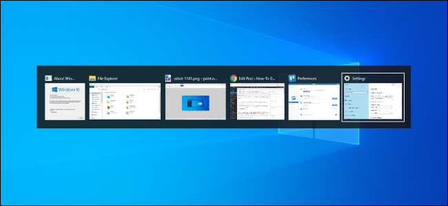 Alt+Tab switcher on a Windows 10's desktop.