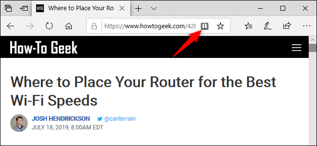 """Click the """"Reading View"""" icon."""