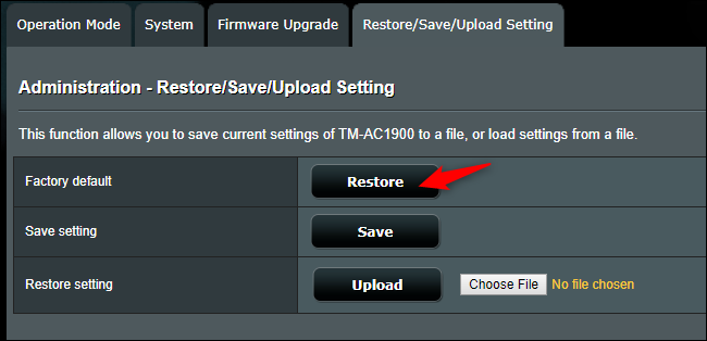 Factory Reset option screen for an Asus router.