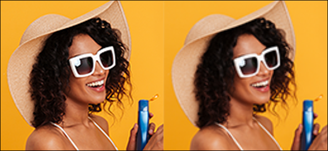 On left: A sharp, but jagged image of a woman in front of a yellow background edited with bilinear interpolation. On right: Same image edited with bicubic interpolation looks waxy and blurry.