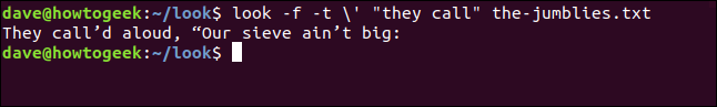 "Output from ""look -f -t \' ""they call"" the-jumblies.txt"" in a terminal window."