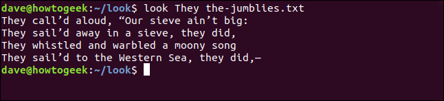 "Output from ""look They the-jumblies.txt"" in a terminal window."
