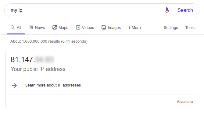 """Google search results for """"my ip."""""""