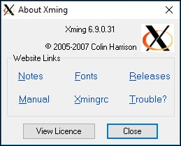 Xming about window