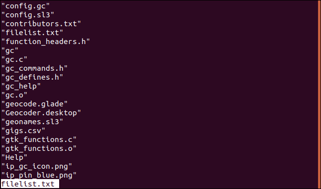 Contents of filenames.txt in less in a terminal window.