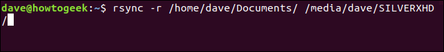 rsync -r /home/dave/Documents/ /media/dave/SILVERXHD/ in a terminal window
