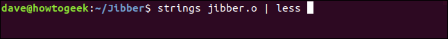 jibber.o | less in a terminal window