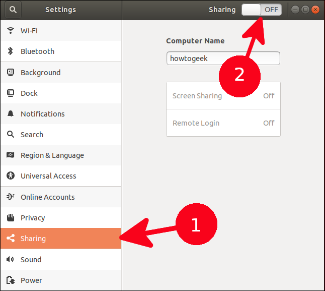 """Click """"Sharing"""" in the side panel, and then click the Sharing toggle On."""
