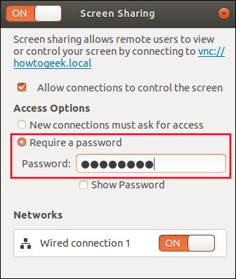 "Select ""Require a Password"" and type a password in the ""Password"" field."