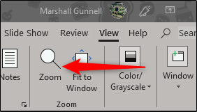 zoom option found in view tab