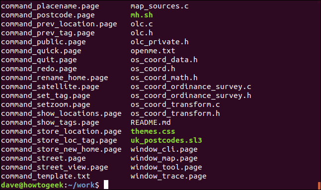 Collection if files in a directory, in a terminal window