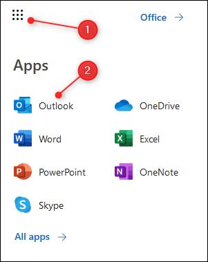 Pelancar aplikasi O365 dengan Outlook diserlahkan.