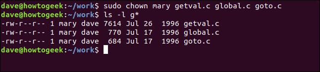 ls -l getval.c global.c goto.c in a terminal window