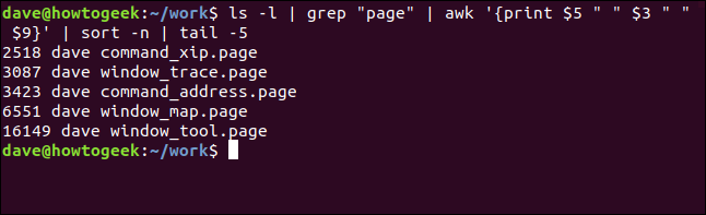 Five largest .page files listed by size order in a terminal window